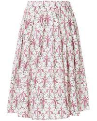 Prada Pink Pleated Floral-print Midi Skirt