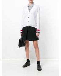Thom Browne - White Tri-stripe Cuff Cardigan - Lyst