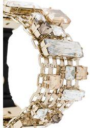 Lanvin - Metallic Encrusted Chain Bracelet - Lyst