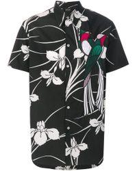 N°21 Black Floral Print Parrot Shirt for men