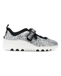 Miu Miu - Metallic Glittered Sneakers - Lyst