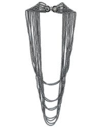 Oscar de la Renta - Gray Multi Strand Pearl Necklace - Lyst