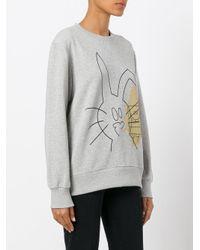 Peter Jensen - Gray Rabbit And Spongebob Print Sweatshirt - Lyst