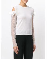 Giambattista Valli - White Sheer Sleeves Sweater - Lyst