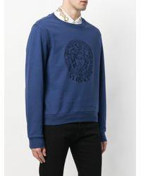 Versace - Blue Embroidered Medusa Sweatshirt for Men - Lyst