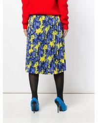 Balenciaga - Blue Poppy Print Sunray Pleated Skirt Yellow - Lyst