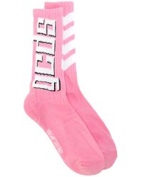 Gcds - Pink Logo Print Socks - Lyst
