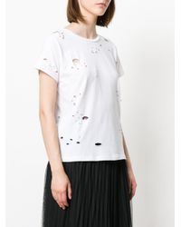 Pinko - White Imbarbarire Distressed T-shirt - Lyst