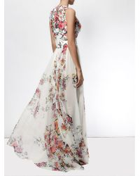 Zuhair Murad - White Floral Print Flared Gown - Lyst