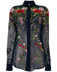 Piccione.piccione - Blue Embroidered Tulle Shirt - Lyst