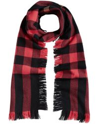 Burberry - Red Fringed Check Scarf - Lyst