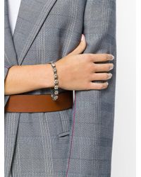 Bottega Veneta - Metallic Gold Cubic Zirconia Oxidized Silver Bracelet - Lyst