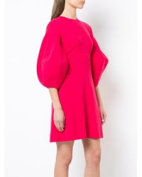 Oscar de la Renta - Pink Lantern Sleeve Flared Dress - Lyst