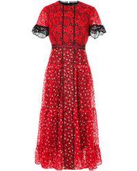 Saloni - Floral Embroidered Midi Dress - Lyst