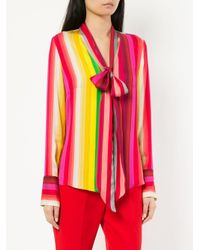 MILLY - Pink Striped Tie Neck Shirt - Lyst