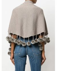 N.Peal Cashmere - Gray Cashmere Pom Pom Shortsleeved Shawl - Lyst