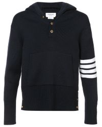 Thom Browne - Blue Pullover Hoodie With Rib Stitch In Navy Merino for Men - Lyst