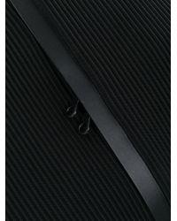 Pleats Please Issey Miyake Black Diagonal Pleated Stripe Backpack