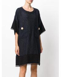 Faith Connexion - Blue Oversized Pockets Shift Dress - Lyst