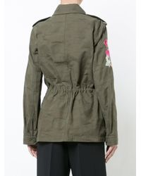 Trina Turk - Green Floral Appliqué Military Cargo Jacket - Lyst