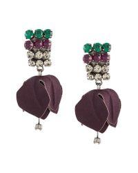Marni - Brown Flower Drop Earrings - Lyst