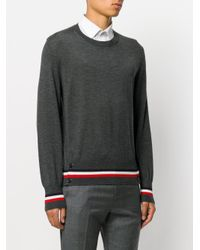 Moncler - Gray Striped Hem Jumper for Men - Lyst