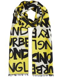 Burberry - Yellow Graffiti Cotton Jacquard Scarf - Lyst