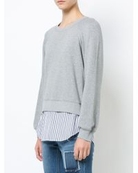 10 Crosby Derek Lam - Gray Crewneck Sweatshirt With Shirt Hem - Lyst
