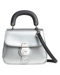 Burberry - Small Dk88 Top Handle Bag In Metallic Leather - Lyst