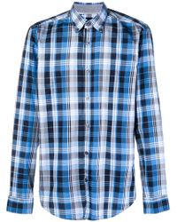 BOSS - Blue Checked Classic Shirt for Men - Lyst
