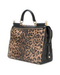 Dolce & Gabbana - Brown Leopard Print Shoulder Bag - Lyst