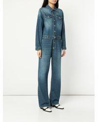 Ganni - Blue Denim Boiler Suit - Lyst