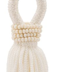 Oscar de la Renta - White Corded Tassel Earrings - Lyst