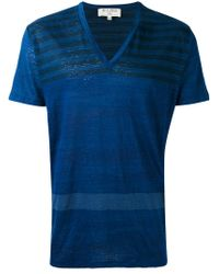 Etro - Blue Stripe V-neck T-shirt for Men - Lyst