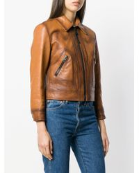 COACH - Brown Burnished Leather Jacket - Lyst