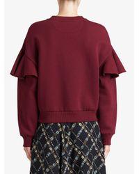 Burberry - Red Ruffle Sleeve Sweatshirt - Lyst