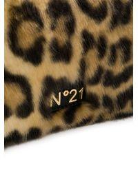 N°21 - Black Leopard-print Faux-fur Clutch - Lyst
