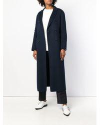 Max Mara - Blue Double-breasted Long Coat - Lyst