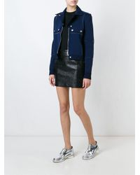 Courreges - Blue Panelled Biker Jacket - Lyst