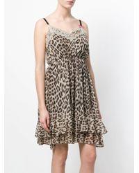 Twin Set - Brown Leopard Print Slip Dress - Lyst