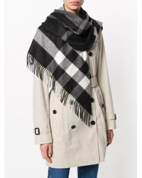 Burberry - Black The Bandana In Check Cashmere - Lyst