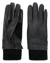 AMI - Black Leather Gloves for Men - Lyst