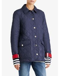 Burberry - Blue Diamond Quilted Coat - Lyst