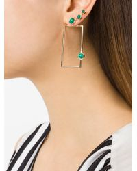 Eshvi - Metallic Square Earrings - Lyst