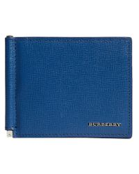 Burberry - Blue London Money Clip Card Wallet for Men - Lyst