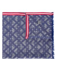 Bally - Blue Geometric Pattern Scarf for Men - Lyst