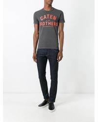 DSquared² Gray Caten Brothers T-shirt for men