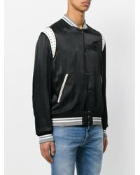 Just Cavalli - Black Embroidered Chest Panel Bomber for Men - Lyst