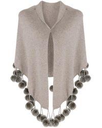 N.Peal Cashmere - Gray Cashmere Pom Pom Shortsleeved Shawl - Lyst