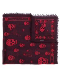 Alexander McQueen - Red Skull And Paper Clip Scarf for Men - Lyst